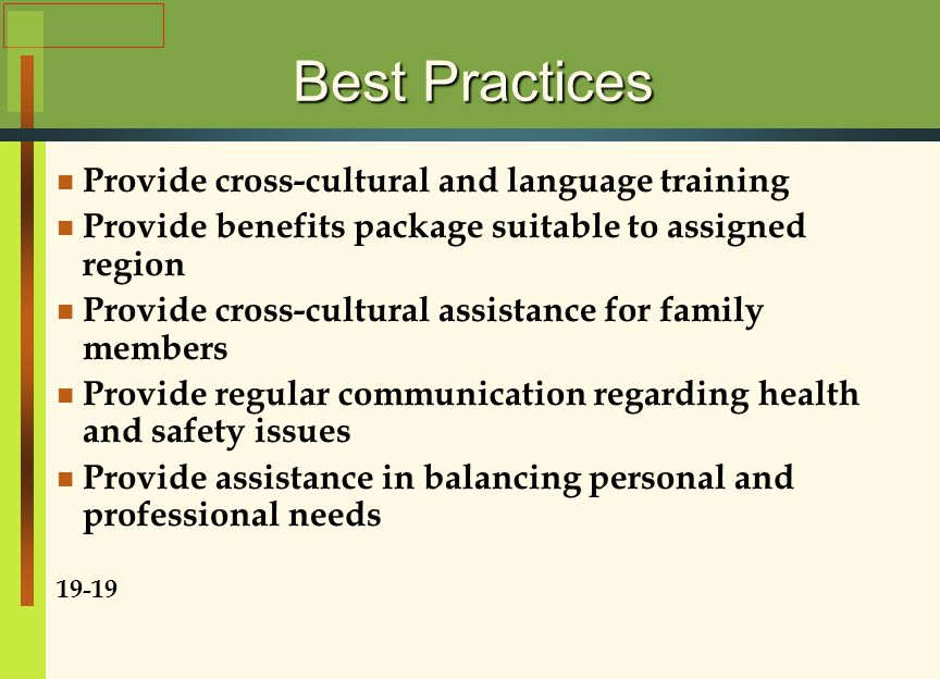 Best Practices Provide cross-cultural and language training Provide benefits package suitable to assigned region Provide cross-cultural assistance for family members Provide regular communication regarding health and safety issues Provide assistance in balancing personal and professional needs 19-19