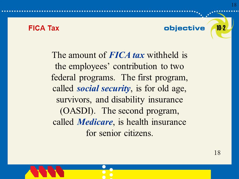Click to edit Master title style 18 FICA Tax The amount of FICA tax withheld is the employees' contribution to two federal programs.