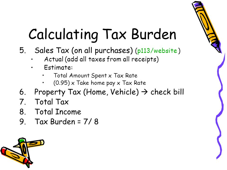 Calculating Tax Burden 5.Sales Tax (on all purchases) (p113/website ) Actual (add all taxes from all receipts) Estimate: Total Amount Spent x Tax Rate (0.95) x Take home pay x Tax Rate 6.Property Tax (Home, Vehicle)  check bill 7.Total Tax 8.Total Income 9.Tax Burden = 7/ 8
