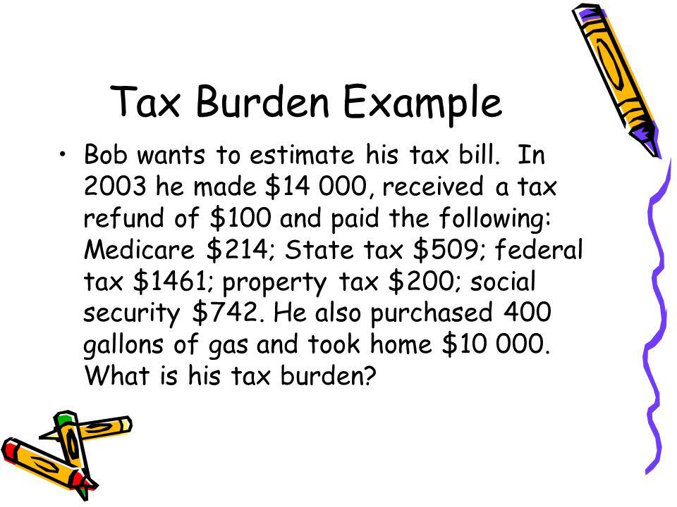Tax Burden Example Bob wants to estimate his tax bill.