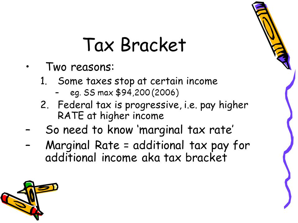 Tax Bracket Two reasons: 1.Some taxes stop at certain income –eg.