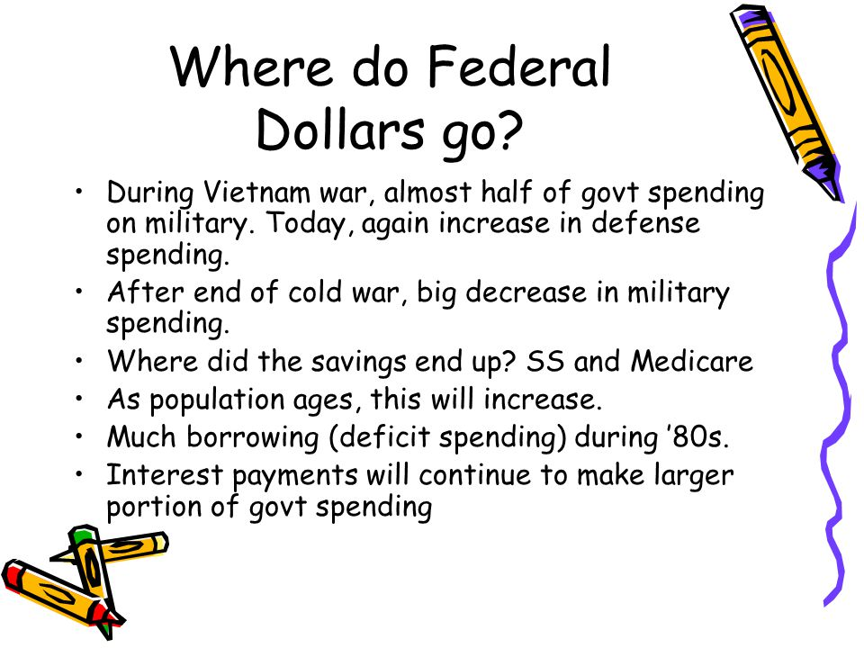 Where do Federal Dollars go. During Vietnam war, almost half of govt spending on military.