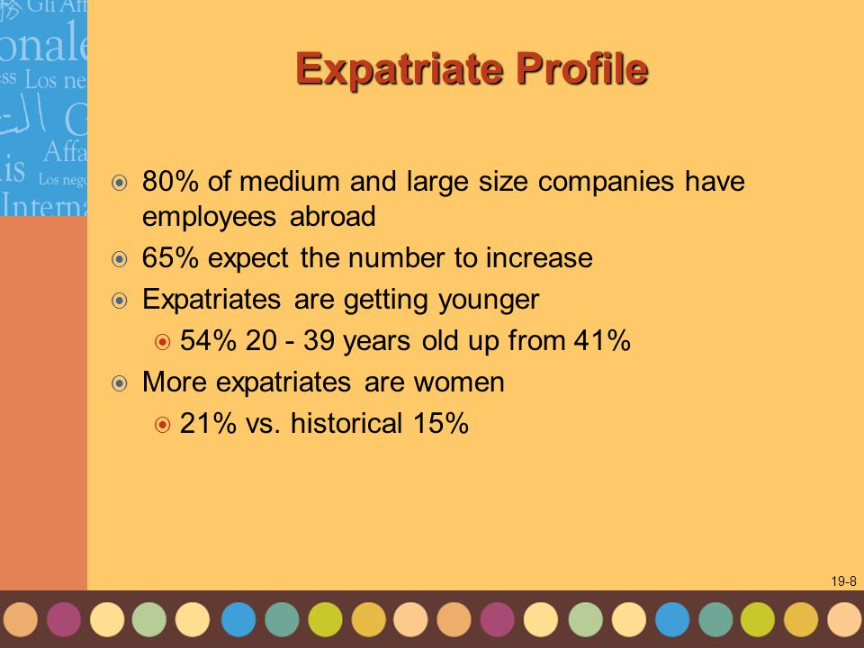 1-8 19-8 Expatriate Profile  80% of medium and large size companies have employees abroad  65% expect the number to increase  Expatriates are getting younger  54% 20 - 39 years old up from 41%  More expatriates are women  21% vs.