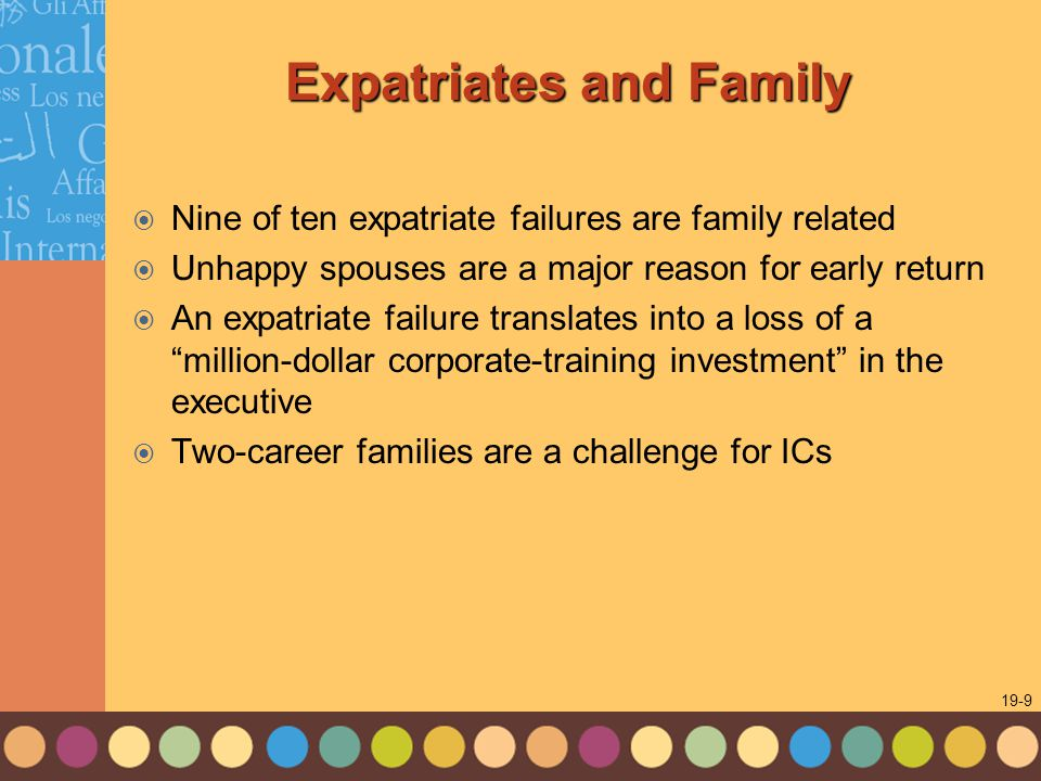 1-9 19-9 Expatriates and Family  Nine of ten expatriate failures are family related  Unhappy spouses are a major reason for early return  An expatriate failure translates into a loss of a million-dollar corporate-training investment in the executive  Two-career families are a challenge for ICs