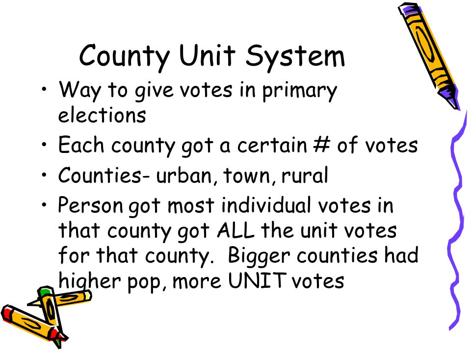 County Unit System Way to give votes in primary elections Each county got a certain # of votes Counties- urban, town, rural Person got most individual