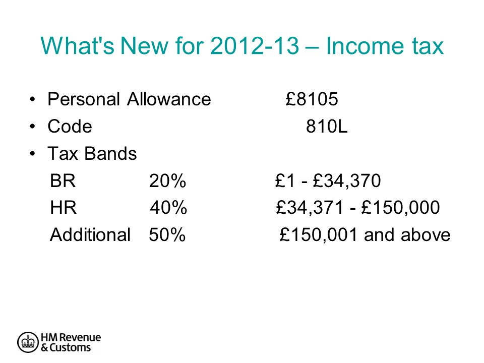 What s New for 2012-13 – Income tax Personal Allowance £8105 Code 810L Tax Bands BR 20% £1 - £34,370 HR 40% £34,371 - £150,000 Additional 50% £150,001 and above