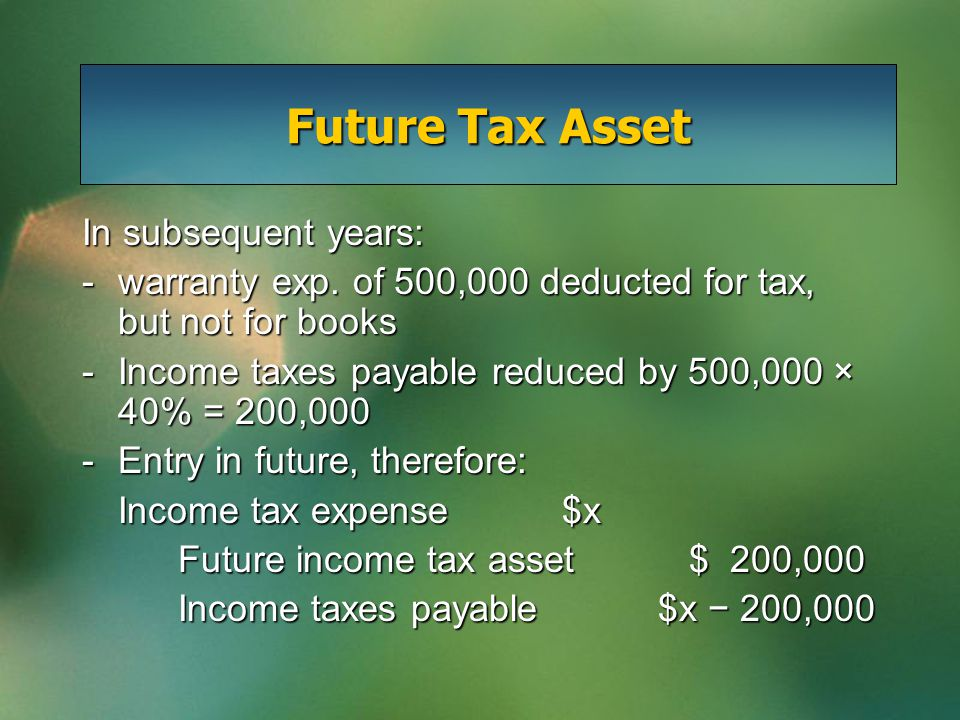 Future Tax Asset In subsequent years: -warranty exp. of 500,000 deducted for tax, but not for books -Income taxes payable reduced by 500,000 × 40% = 2