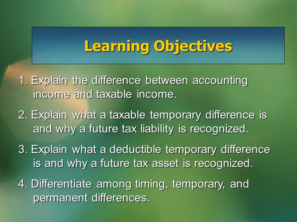 1. Explain the difference between accounting income and taxable income. 2. Explain what a taxable temporary difference is and why a future tax liabili