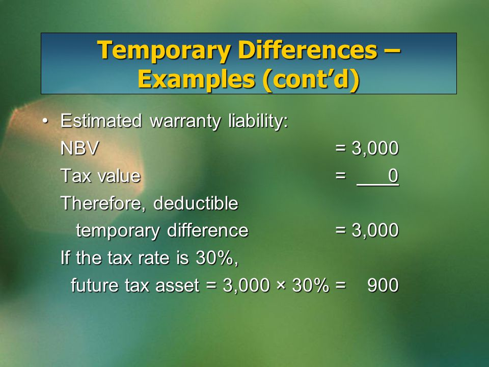 Temporary Differences – Examples (cont'd) Estimated warranty liability:Estimated warranty liability: NBV= 3,000 Tax value= 0 Therefore, deductible tem
