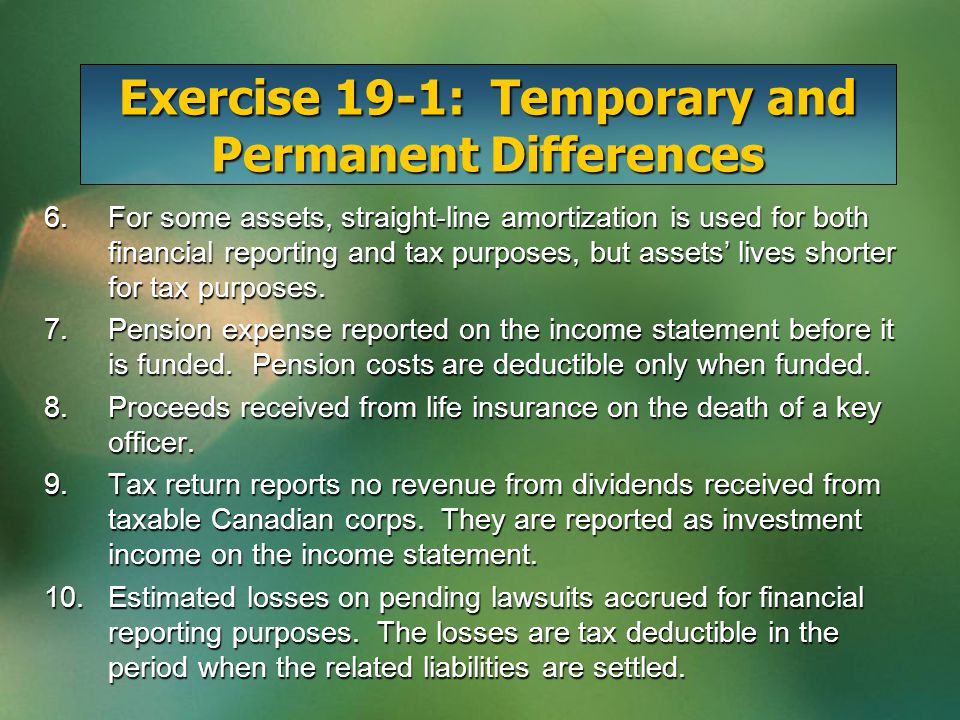 Exercise 19-1: Temporary and Permanent Differences 6.For some assets, straight-line amortization is used for both financial reporting and tax purposes