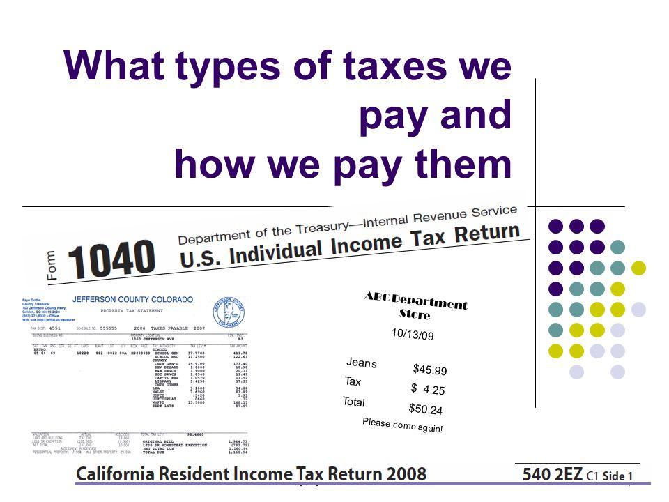Types of taxes Type of taxFederalCaliforniaSan Jose Income tax XX Sales tax XX Use tax XX Property tax X Excise taxes XX Employment XX Estate/gift XX Business license X Transient occupancy tax X