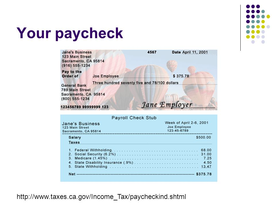 Your paycheck http://www.taxes.ca.gov/Income_Tax/paycheckind.shtml