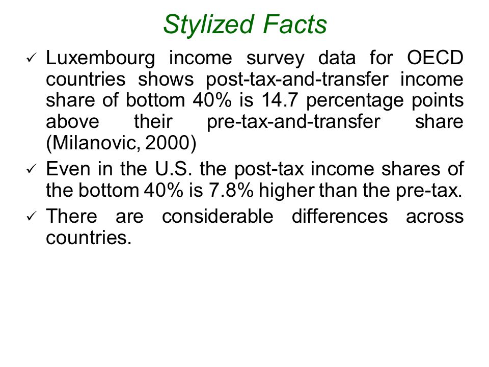 Stylized Facts Luxembourg income survey data for OECD countries shows post-tax-and-transfer income share of bottom 40% is 14.7 percentage points above their pre-tax-and-transfer share (Milanovic, 2000) Even in the U.S.