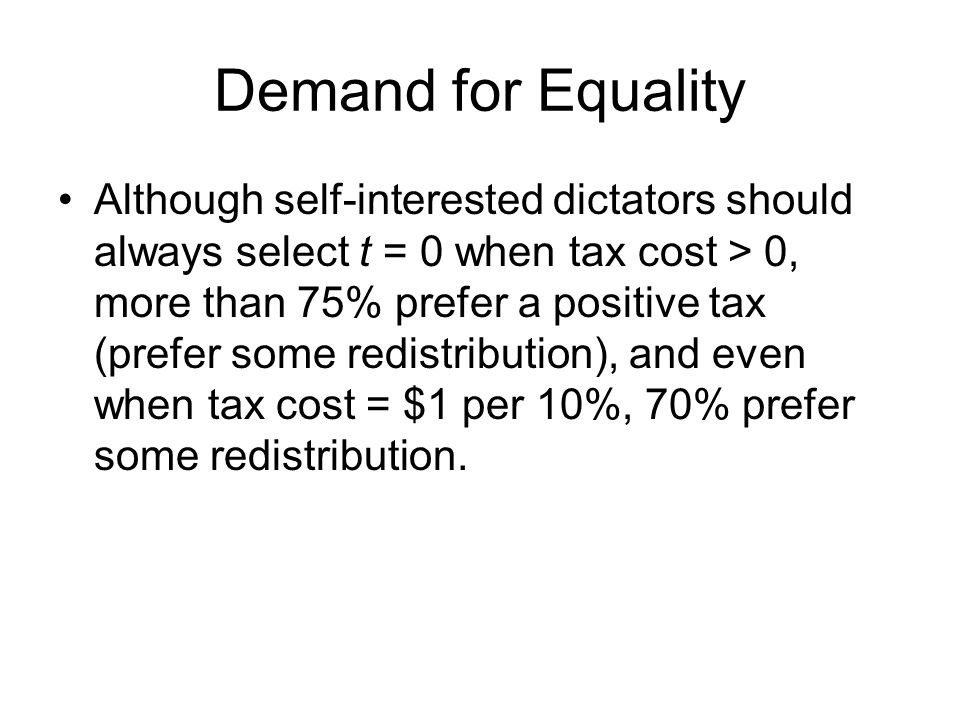 Demand for Equality Although self-interested dictators should always select t = 0 when tax cost > 0, more than 75% prefer a positive tax (prefer some redistribution), and even when tax cost = $1 per 10%, 70% prefer some redistribution.