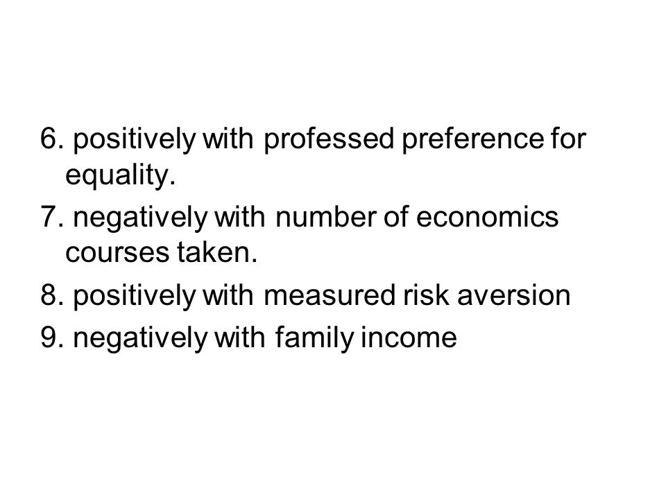 6. positively with professed preference for equality.