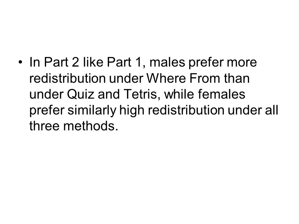 In Part 2 like Part 1, males prefer more redistribution under Where From than under Quiz and Tetris, while females prefer similarly high redistribution under all three methods.