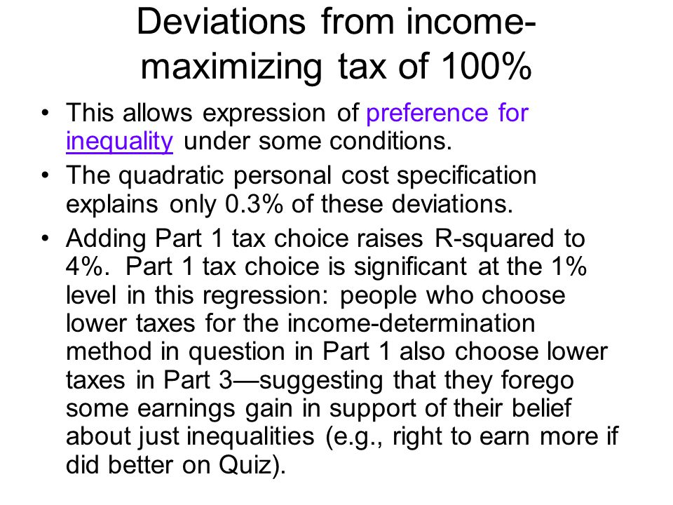 Deviations from income- maximizing tax of 100% This allows expression of preference for inequality under some conditions.