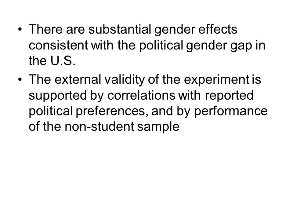There are substantial gender effects consistent with the political gender gap in the U.S.