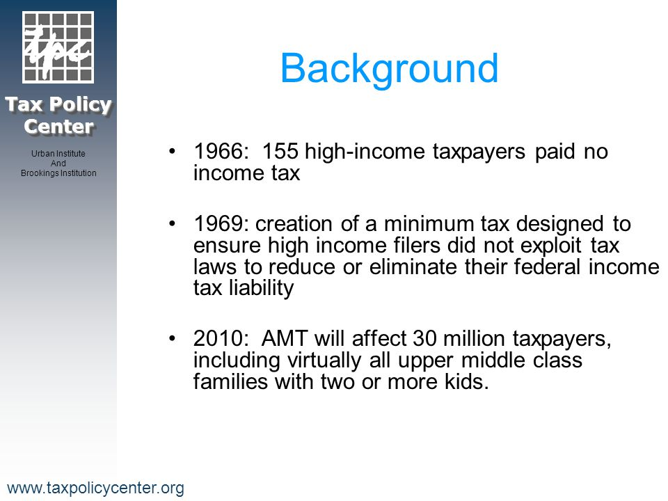 Tax Policy Center Urban Institute And Brookings Institution www.taxpolicycenter.org Source: Urban-Brookings Tax Policy Center Microsimulation Model, 2005 Percent of AMT Taxpayers who Face Higher Marginal Tax Rates Under the AMT