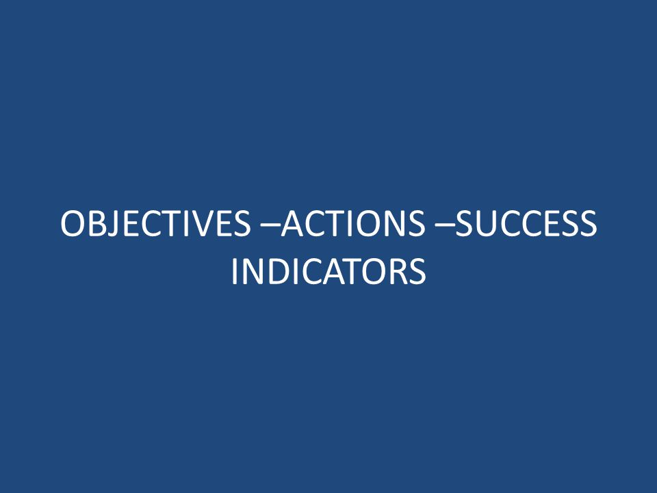 OBJECTIVES –ACTIONS –SUCCESS INDICATORS