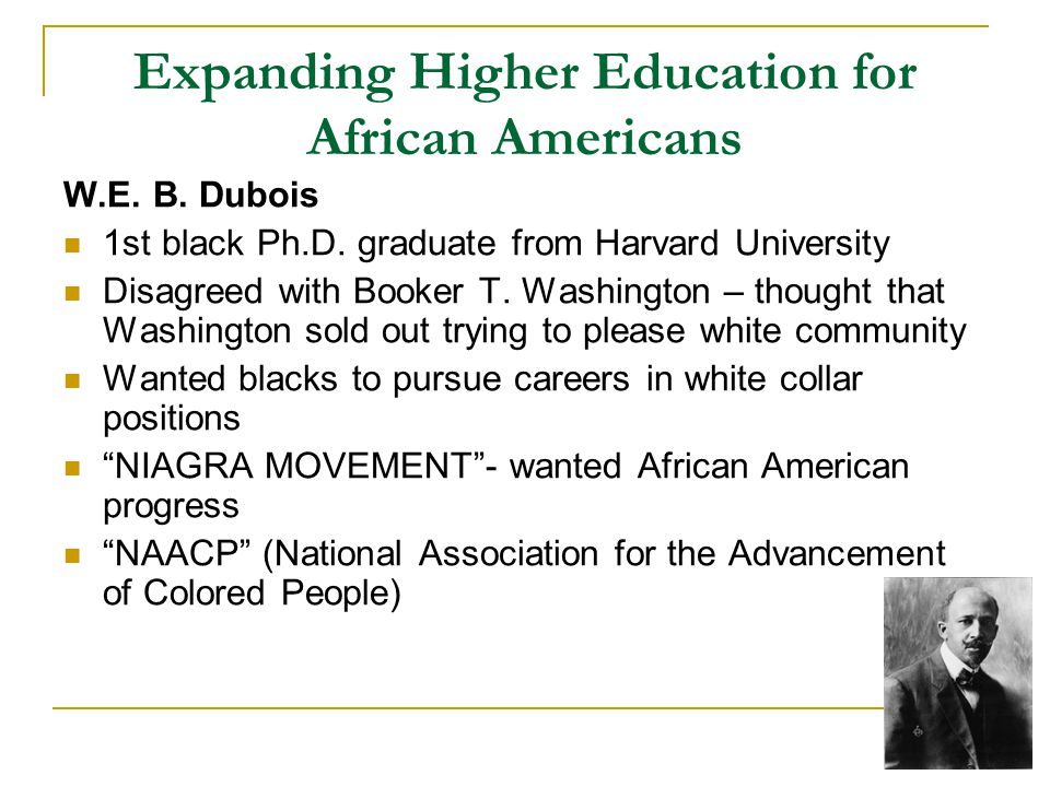 Expanding Higher Education for African Americans W.E.