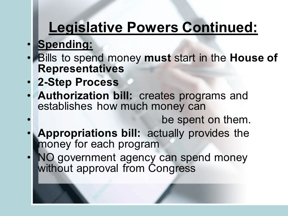 Legislative Powers Continued: Regulating Commerce Congress regulates foreign and interstate trade Foreign commerce: business with other countries Interstate commerce: business among the states Foreign Relations and Treaties: ONLY Congress can declare war Has the power to create, maintain, and oversee an army and navy Senate must approve any treaties made by the president