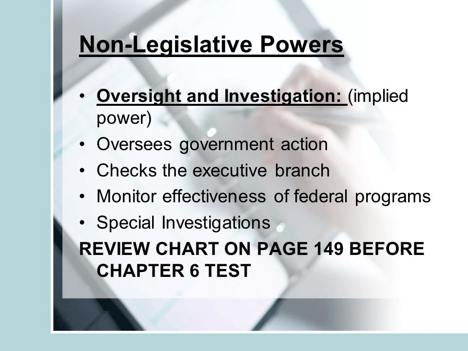 Power Limitations: cannot pass laws that violate the Bill of Rights cannot favor one state over another no taxation of interstate commerce cannot tax exports cannot suspend the writ of habeas corpus (the person arrested must be brought to court to explain why they are being held.) No bills of attainder ( must be allowed a jury trial) No ex post facto laws ( cannot make an action a crime after the fact) REVIEW COMMITTEE CHARTS ON P.