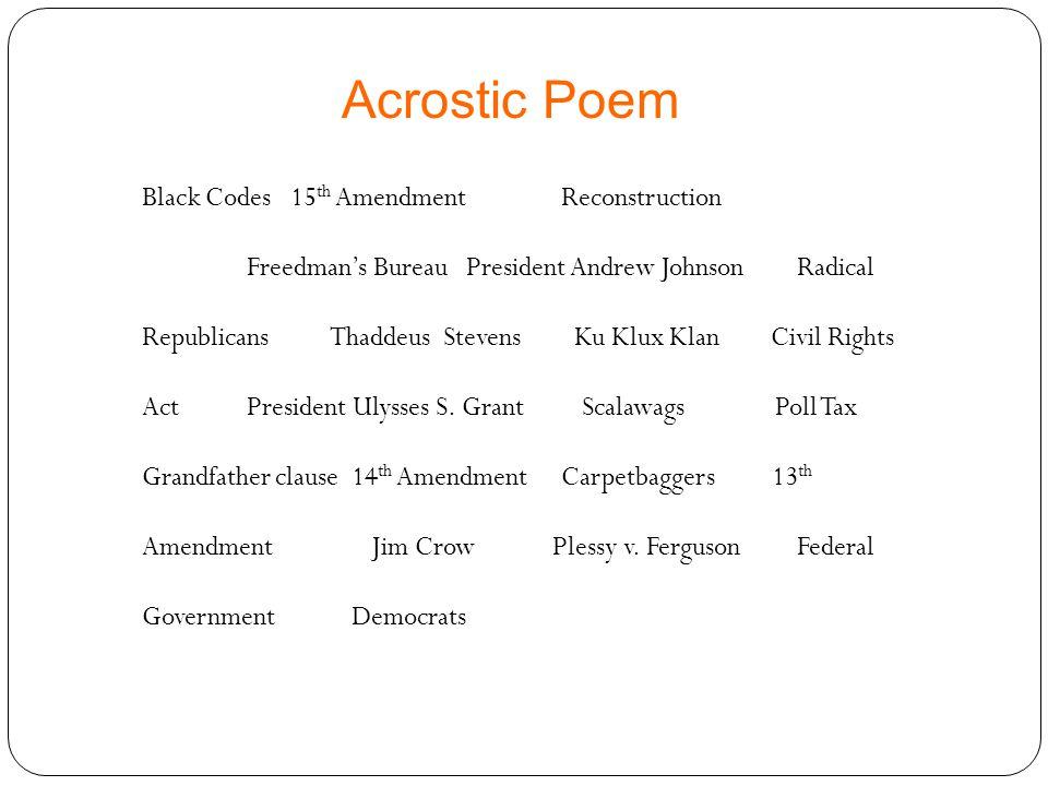 Black Codes 15 th AmendmentReconstruction Freedman's Bureau President Andrew Johnson Radical Republicans Thaddeus Stevens Ku Klux KlanCivil Rights Act