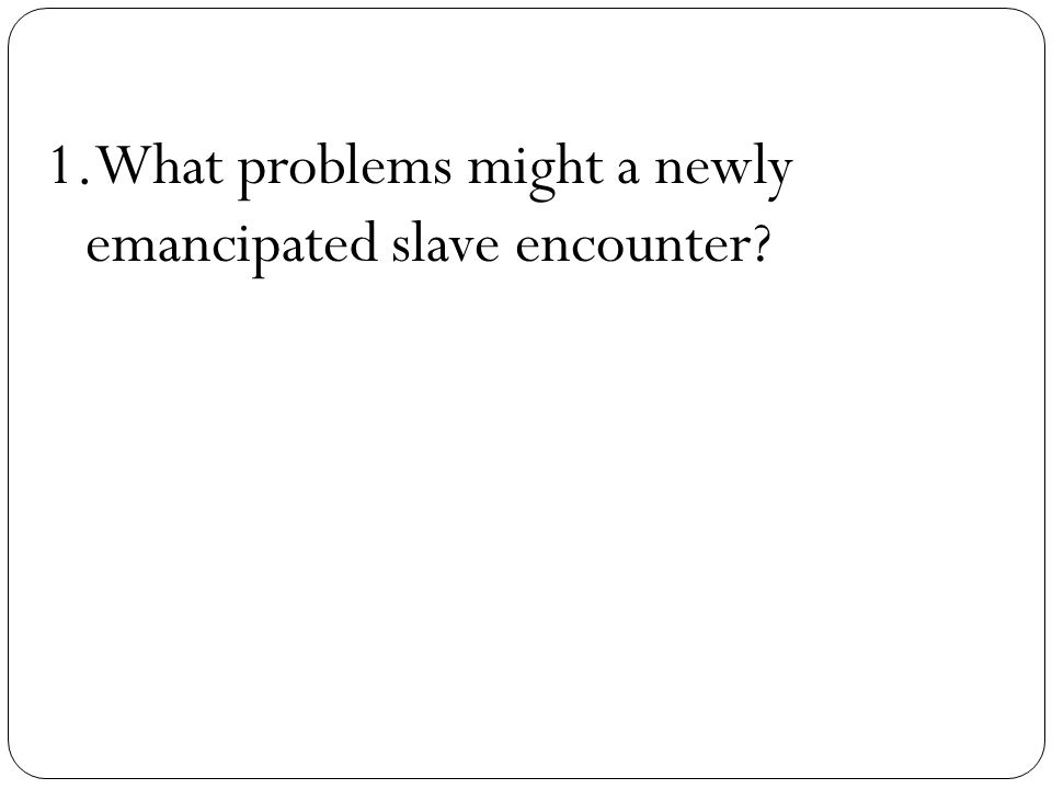 1.What problems might a newly emancipated slave encounter?