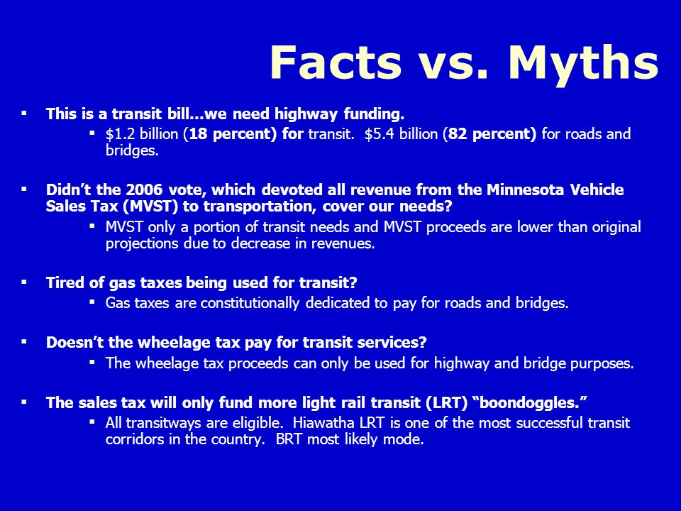 Facts vs. Myths  This is a transit bill…we need highway funding.