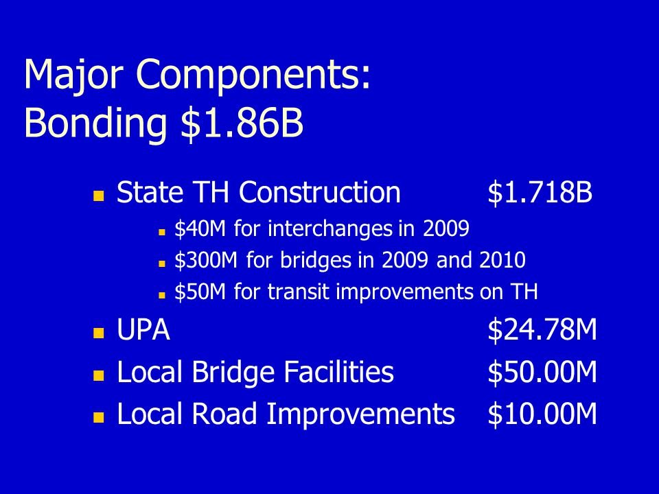 Major Components: Bonding $1.86B State TH Construction $1.718B $40M for interchanges in 2009 $300M for bridges in 2009 and 2010 $50M for transit improvements on TH UPA$24.78M Local Bridge Facilities$50.00M Local Road Improvements$10.00M