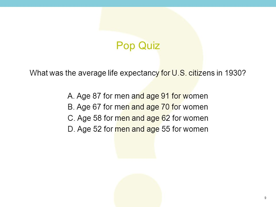 10 Pop Quiz What was the average life expectancy for U.S.