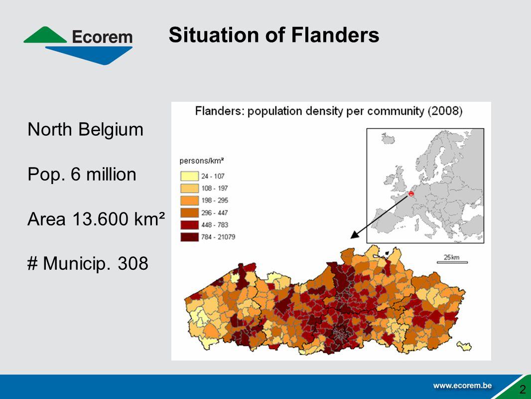 Situation of Flanders 2 North Belgium Pop. 6 million Area 13.600 km² # Municip. 308