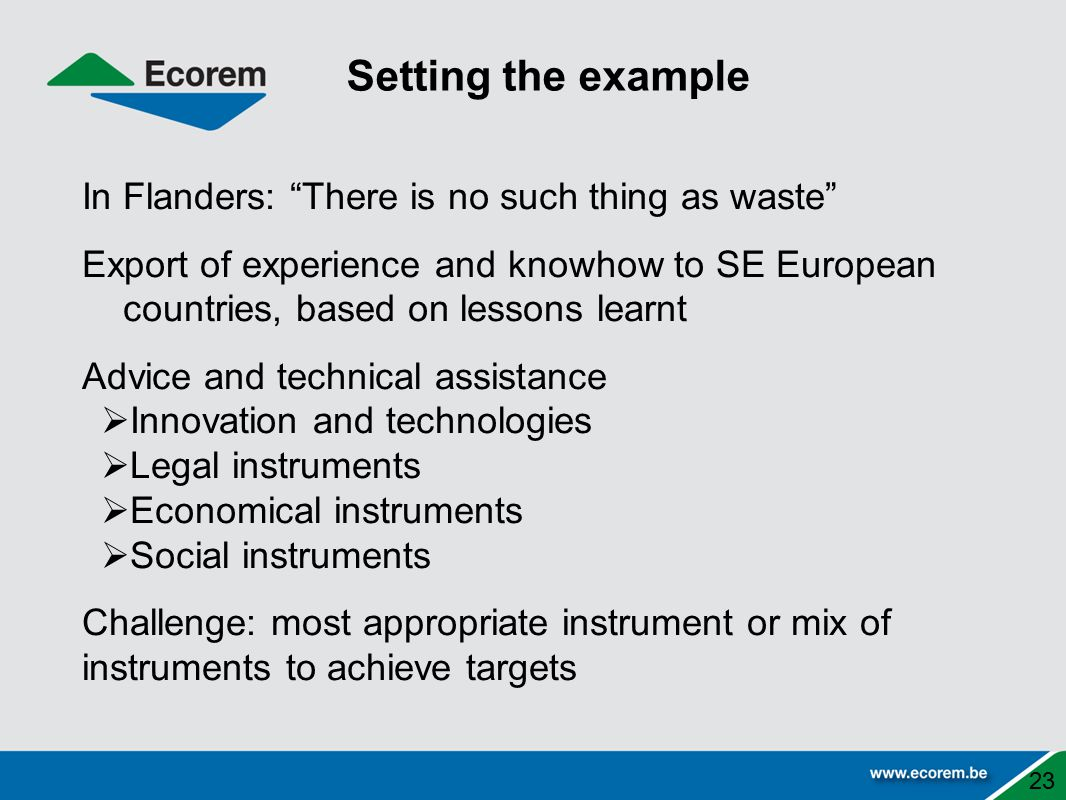 In Flanders: There is no such thing as waste Export of experience and knowhow to SE European countries, based on lessons learnt Advice and technical assistance  Innovation and technologies  Legal instruments  Economical instruments  Social instruments Challenge: most appropriate instrument or mix of instruments to achieve targets Setting the example 23