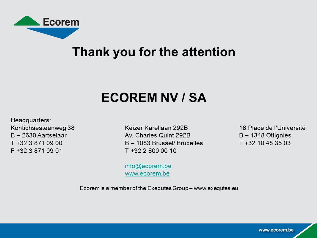 Thank you for the attention ECOREM NV / SA Headquarters: Kontichsesteenweg 38Keizer Karellaan 292B16 Place de l'Université B – 2630 AartselaarAv.