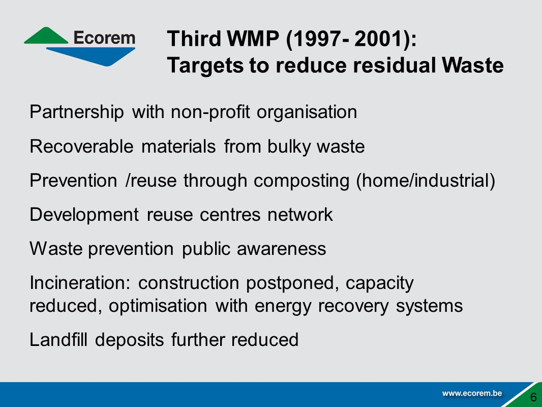 Partnership with non-profit organisation Recoverable materials from bulky waste Prevention /reuse through composting (home/industrial) Development reuse centres network Waste prevention public awareness Incineration: construction postponed, capacity reduced, optimisation with energy recovery systems Landfill deposits further reduced 6 Third WMP (1997- 2001): Targets to reduce residual Waste