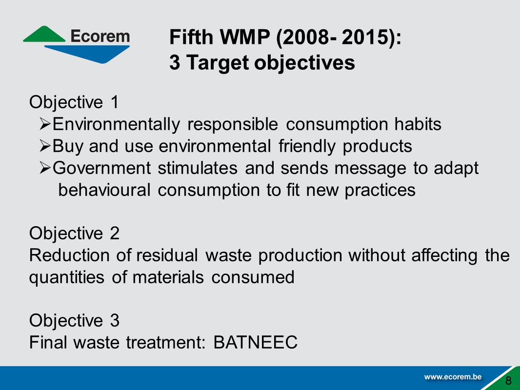 Objective 1  Environmentally responsible consumption habits  Buy and use environmental friendly products  Government stimulates and sends message to adapt behavioural consumption to fit new practices Objective 2 Reduction of residual waste production without affecting the quantities of materials consumed Objective 3 Final waste treatment: BATNEEC 8 Fifth WMP (2008- 2015): 3 Target objectives