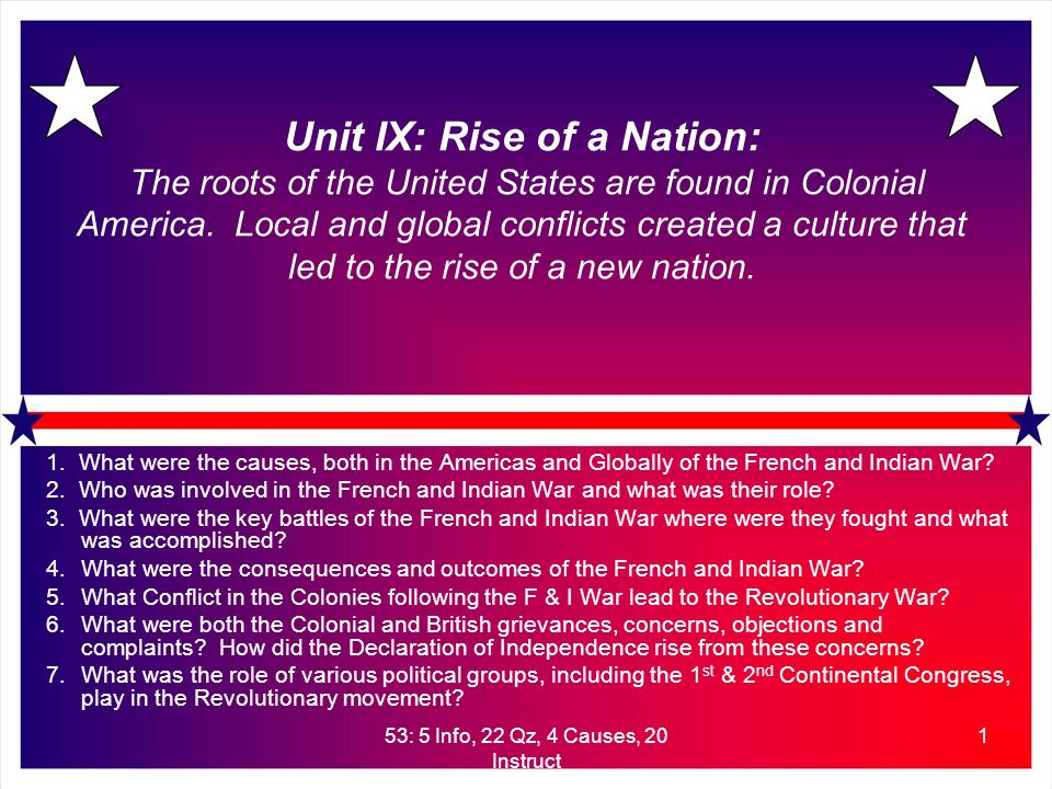 53: 5 Info, 22 Qz, 4 Causes, 20 Instruct 2 Rise of A Nation: The roots of the United States of America Conflict prior to the Revolutionary War