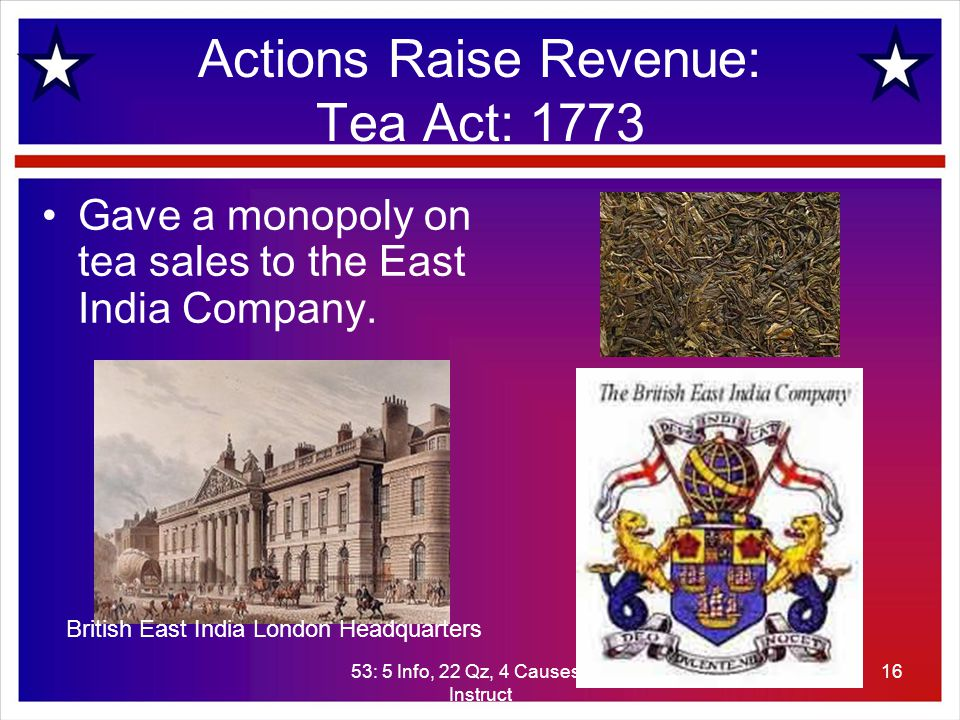 53: 5 Info, 22 Qz, 4 Causes, 20 Instruct 16 Actions Raise Revenue: Tea Act: 1773 Gave a monopoly on tea sales to the East India Company.