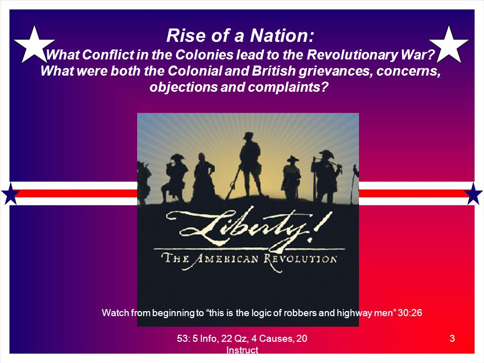 53: 5 Info, 22 Qz, 4 Causes, 20 Instruct 3 Rise of a Nation: What Conflict in the Colonies lead to the Revolutionary War.