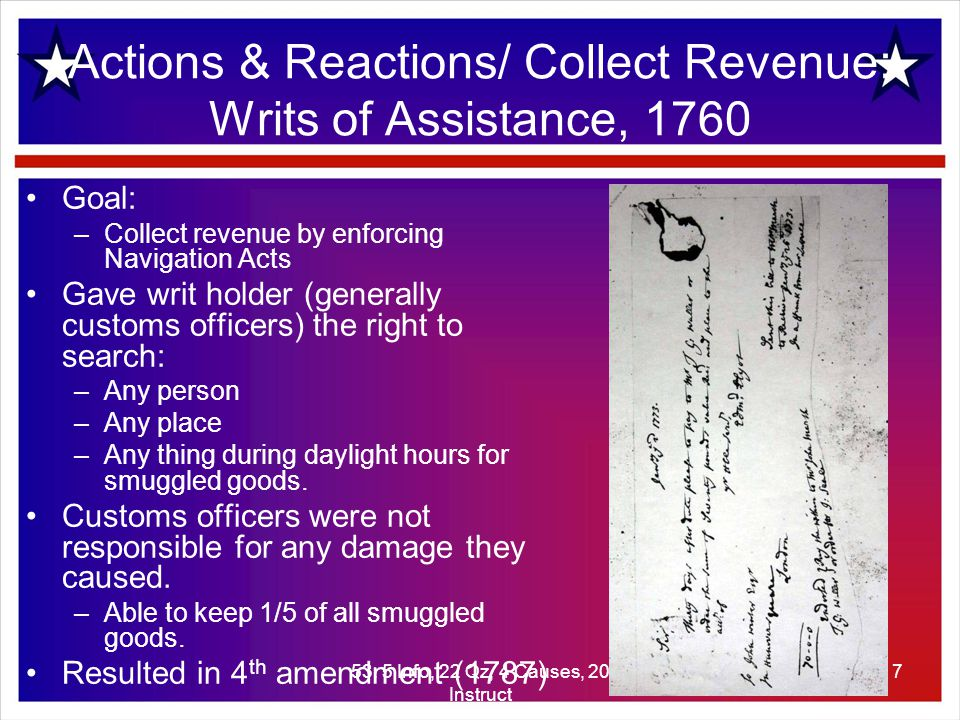 53: 5 Info, 22 Qz, 4 Causes, 20 Instruct 8 Actions/ Collect Revenue: Sugar Act: 1764 Sugar Act: An extension of English Mercantilism.