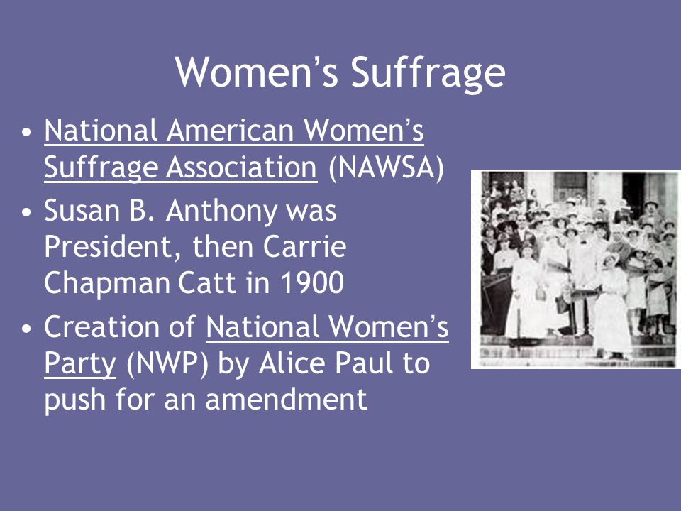 Women ' s Suffrage National American Women ' s Suffrage Association (NAWSA) Susan B.