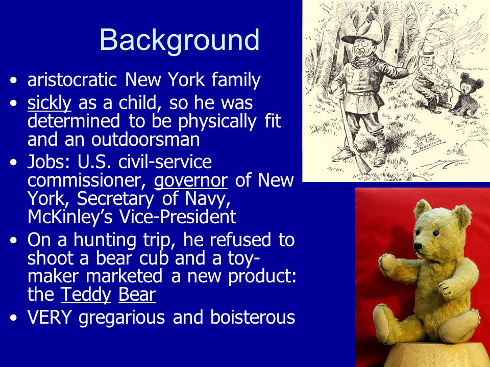 Background aristocratic New York family sickly as a child, so he was determined to be physically fit and an outdoorsman Jobs: U.S. civil-service commi