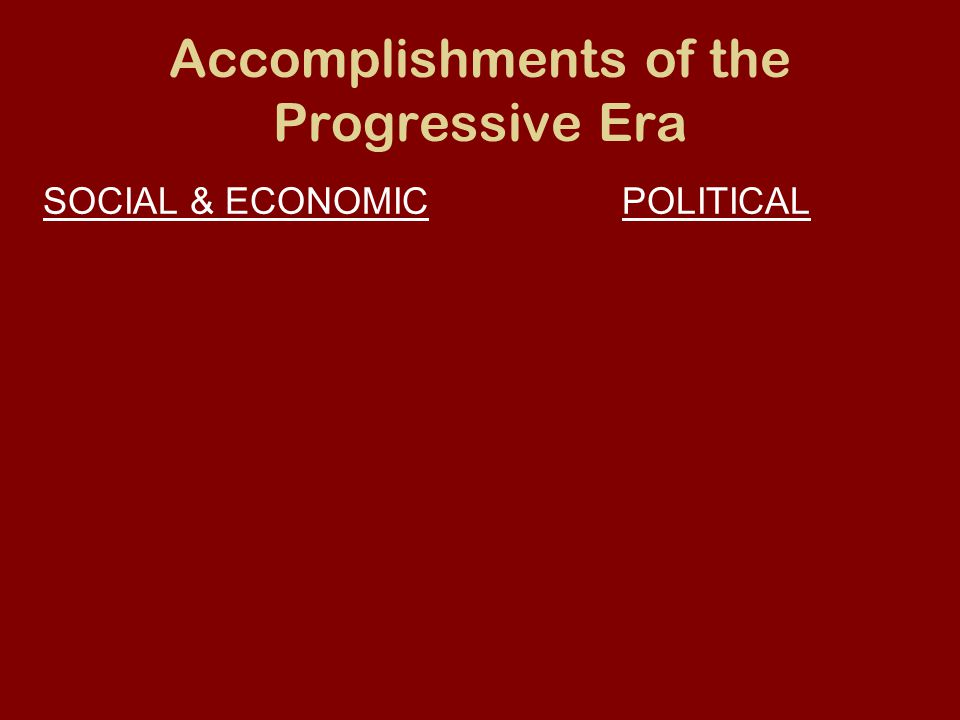 Accomplishments of the Progressive Era SOCIAL & ECONOMICPOLITICAL