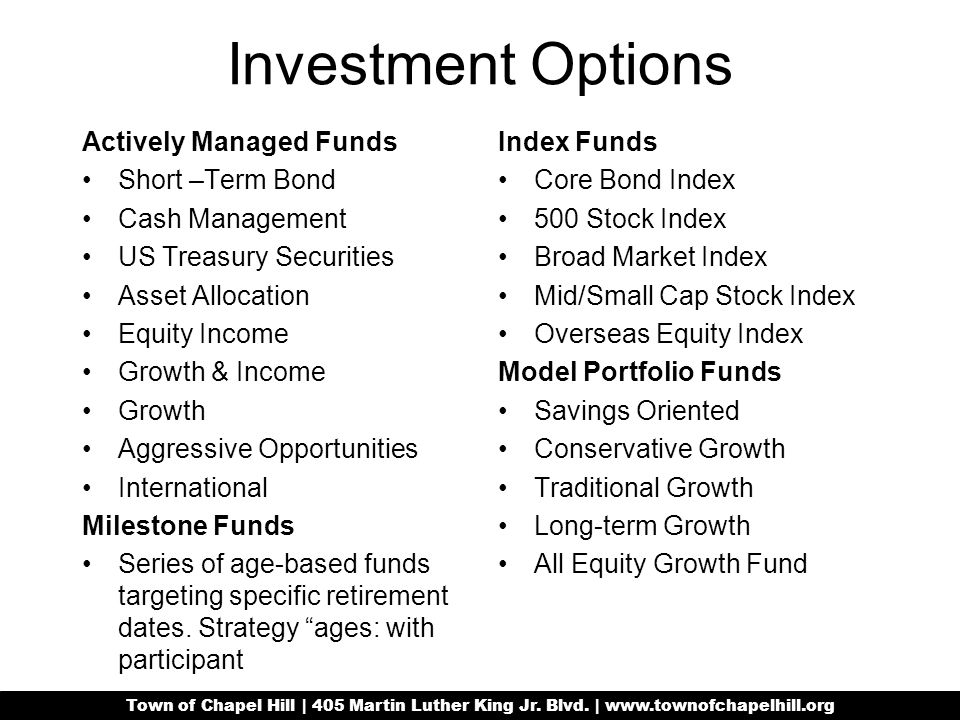 Investment Options Actively Managed Funds Short –Term Bond Cash Management US Treasury Securities Asset Allocation Equity Income Growth & Income Growth Aggressive Opportunities International Milestone Funds Series of age-based funds targeting specific retirement dates.
