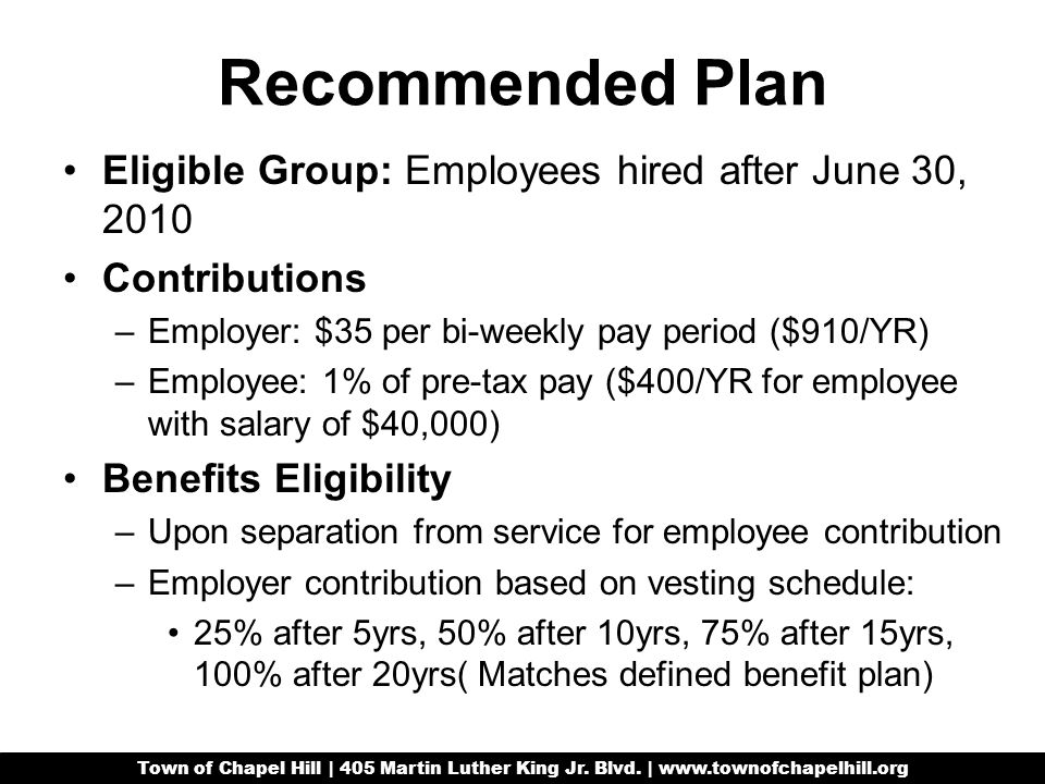 Recommended Plan Eligible Group: Employees hired after June 30, 2010 Contributions –Employer: $35 per bi-weekly pay period ($910/YR) –Employee: 1% of pre-tax pay ($400/YR for employee with salary of $40,000) Benefits Eligibility –Upon separation from service for employee contribution –Employer contribution based on vesting schedule: 25% after 5yrs, 50% after 10yrs, 75% after 15yrs, 100% after 20yrs( Matches defined benefit plan) Town of Chapel Hill | 405 Martin Luther King Jr.