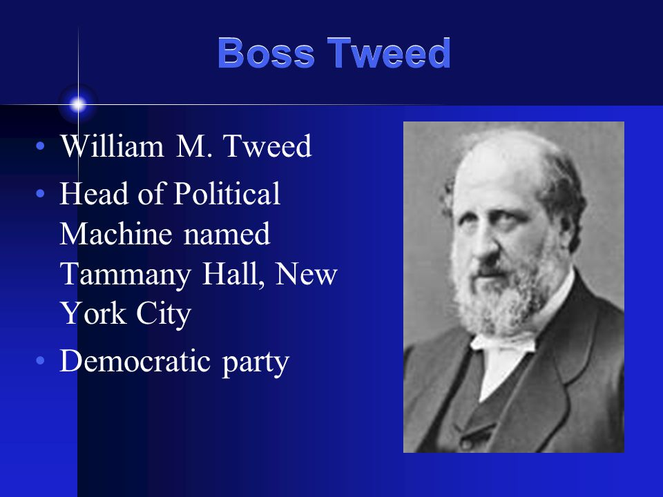 Boss Tweed William M. Tweed Head of Political Machine named Tammany Hall, New York City Democratic party