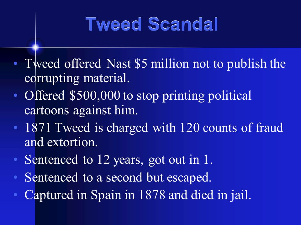 Tweed Scandal Tweed offered Nast $5 million not to publish the corrupting material.