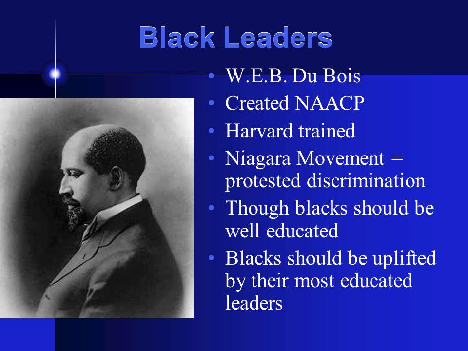Black Leaders W.E.B. Du Bois Created NAACP Harvard trained Niagara Movement = protested discrimination Though blacks should be well educated Blacks sh