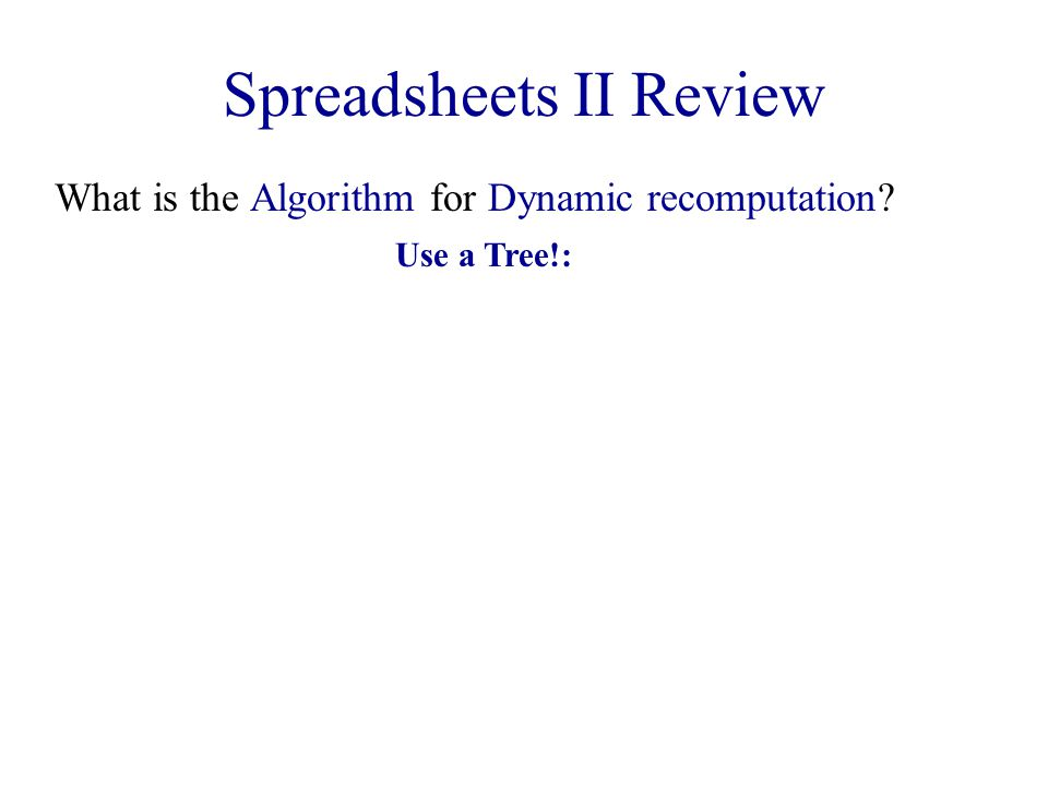 Spreadsheets II Review What is the Algorithm for Dynamic recomputation? Use a Tree!: